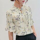 ราคา Women Summer Slim Short Sleeve Chiffon Shirts Ladies Floral Shirt Casual Tops Intl Unbranded Generic ใหม่