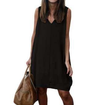 (Free Shipping Fee)ผู้หญิงชุดลำลองมินิวีคอสูงต่ำ Hem หลวมสบายๆไม่สมมาตรชุดกระโปรงสีดำ - นานาชาติ-
