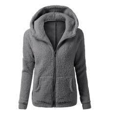 ผู้หญิงหนาขนแกะฤดูหนาวที่อบอุ่นเสื้อแจ็คเก็ตมีฮู้ดซิปเสื้อกันหนาว - นานาชาติ.