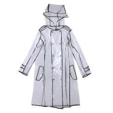ความคิดเห็น Women Transparent Waterproof Hooded Knee Length Colorful Edge Raincoat 1 Intl
