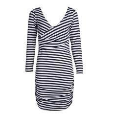 ราคา Women V Neck Long Sleeved Stripes Irregular Slim Pack Hip Dress S Intl ใหม่ ถูก