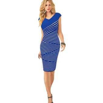 ผู้หญิงวีคอสั้นแขนเสื้อลายเสื้อปาร์ตี้ชุดดินสอสีม่วง S-XXL (สีฟ้า) - สนามบินนานาชาติ-