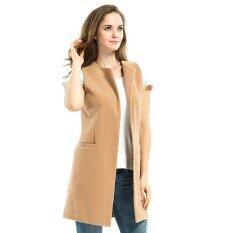 Women Vest Waistcoat Lady Office Wear Long Waistcoat Female Coat Casual Sleeveless Vests Jackets Intl ถูก