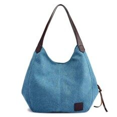 ส่วนลด สินค้า Women Vintage Ladies Large Canvas Handbag Travel Shoulder Bag Casual Tote Purse Blue Intl