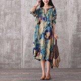 ซื้อ Women Vintage Long Maxi Dress Casual Loose O Neck Long Sleeve Floral Print Dresses Elegant Plus Size Vestidos Blue Intl ถูก จีน