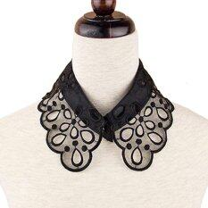 ผู้หญิงสไตล์วินเทจรูปแบบดอกไม้กลวงปลอมเสื้อที่ถอดออกได้เสื้อคอปักงานฝีมือดำ - นานาชาติ.