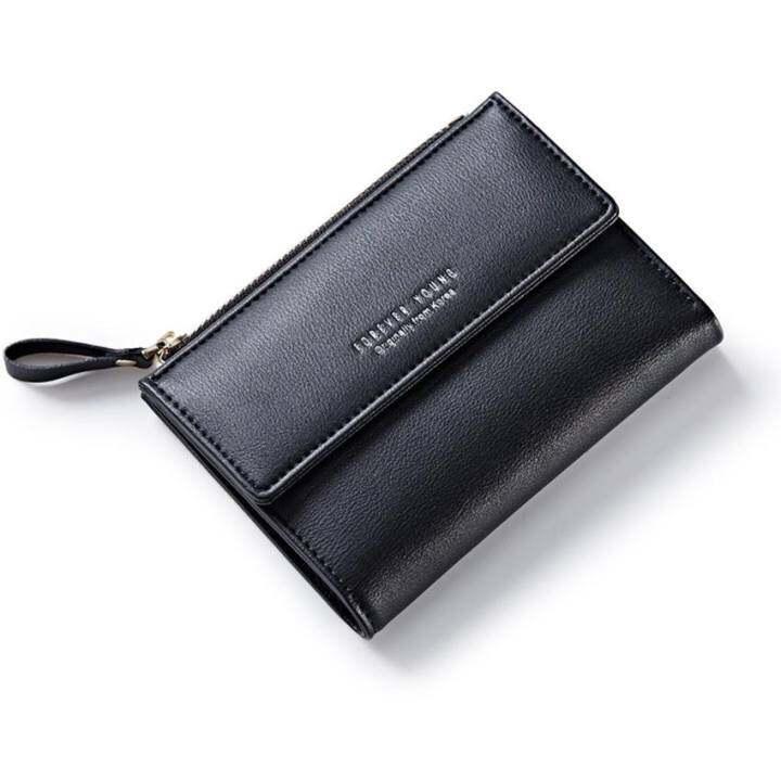 แนะนำ Women Wallet Pu Leather Mini Coin Purses Small Zipper Short Wallets ID Credit Card Holders