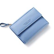 ขาย Women Wallet Pu Leather Mini Coin Purses Small Zipper Short Wallets Id Credit Card Holders Fashion Cute Girls Purse Blue Intl จีน ถูก