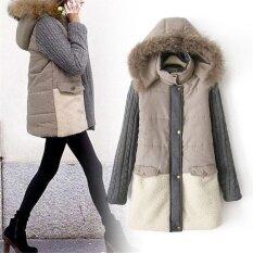 โปรโมชั่น ผู้หญิงลง Parkas ฤดูหนาวเสื้อโค้ทยาวเสื้อกันหนาวเสื้อแฟชั่นเสื้อคลุมยาวหนาเสื้อแจ็คเก็ต สีเทา นานาชาติ จีน