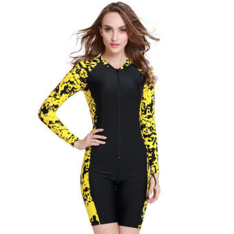 Women Wetsuit Short Sleeve Diving Snorkeling Wet Suit Summer Surfing Rashguard Swimwear Scuba Swimsuit – (Yellow)