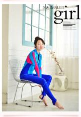 ราคา Women Wetsuits Sunscreen Swimsuit Body One Piece Long Sleeved Pants Unisex Look Royal Blue