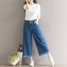 Women Wide Leg Jeans Loose Cropped Jeans Vintage Wide Legs Female Harlan Nine Pants Seventh Jeans Burr Cuffs Trousers Intl ใหม่ล่าสุด