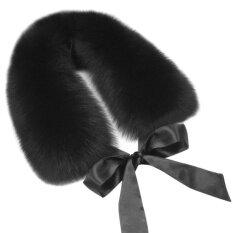ผ้าพันคอผ้าพันคอขนสัตว์ฤดูหนาว Faux ขนปุยกับริบบิ้นสีดำ - นานาชาติ.