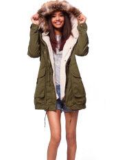 ซื้อ ผู้หญิงฤดูหนาวขนแกะเสื้อคลุมยาว Faux ขนเสื้อโค้ทเสื้อปาร์เกอะเสื้อกองทัพสีเขียว Unbranded Generic ถูก