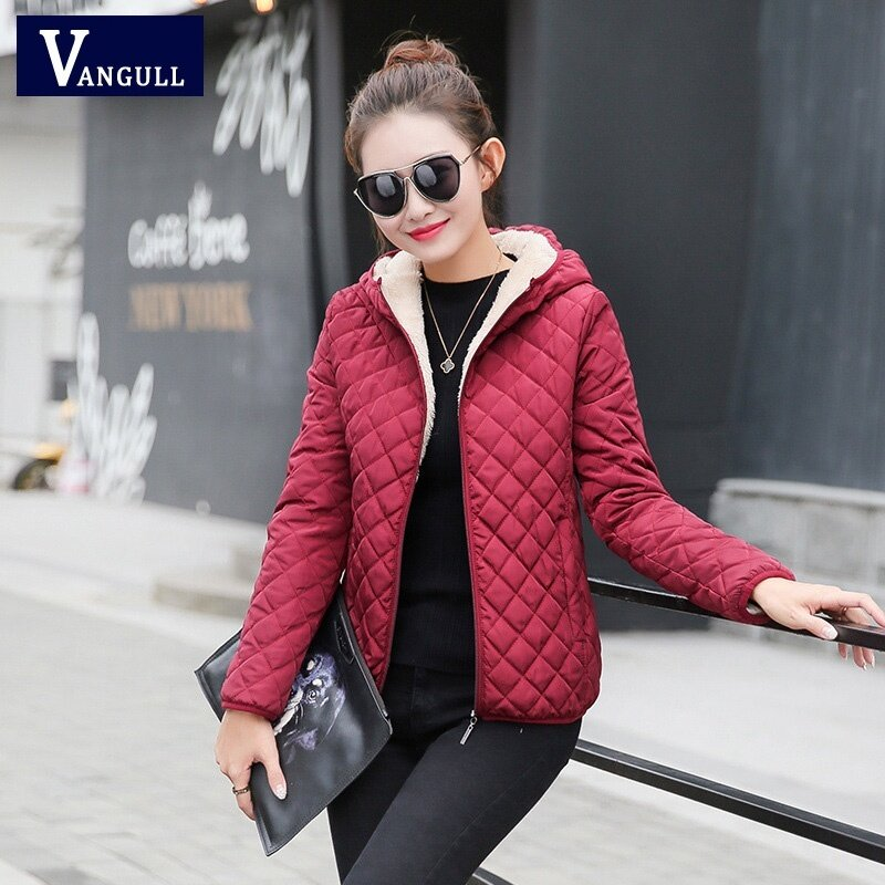 ผู้หญิงฤดูหนาวเสื้อแจ็คเก็ตขนแกะเสื้อทึบ 2017 ฤดูใบไม้ร่วงเสื้อแจ๊กเก็ตบางหญิงสั้นซิปนักเรียน Jaqueta Feminina (ไวน์สีแดง) -นานาชาติ.