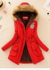 ราคา ราคาถูกที่สุด เสื้อแจ็คเก็ต เสื้อโค้ทแบบยาว สำหรับผู้หญิง สีแดง Red สีแดง Red