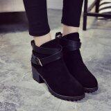 ทบทวน Women Winter Snow Ladies Low Heel Ankle Belt Buckle Martin Boots Shoes Intl