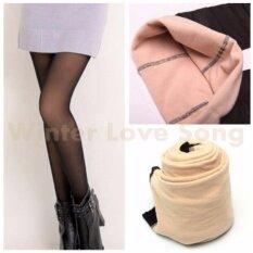 โปรโมชั่น Women Winter Thick Warm Fleece Lined Thermal Stretchy Slim Skinny Leggings Pants Freesize เลกกิ้งบุขน รุ่น C True ซีทรู Glitter สีเนื้อ ดำ ถูก