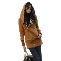 ผู้หญิงฤดูหนาวฮู้ดเสื้อเสือดาวพิมพ์ - นานาชาติเสื้อผ้าแฟชั่นเสื้อกันหนาวเสื้อคลุมหญิง .