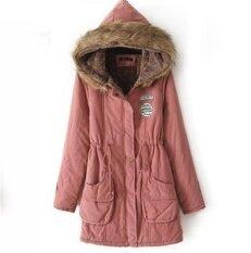 ราคา ผู้หญิงฤดูหนาวคึกคักทหารเสื้อคลุมแจ็คเก็ตฤดูหนาวขนสัตว์เสื้อผ้า Manteau Femme พลัสขนาดสีชมพู ออนไลน์