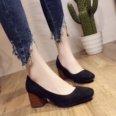 รองเท้าสตรีส้นสูงไม้แฟชั่นเกาหลี Velvet Round Toe ทำงานรองเท้ารองเท้าส้นสูงรองเท้าฤดูใบไม้ร่วงสีดำ ใน จีน