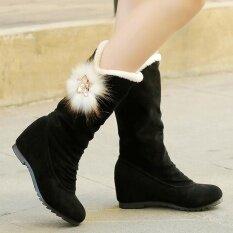 รองเท้าผู้หญิงฤดูหนาวรองเท้ากลางลูกวัวบู๊ทส์ฤดูหนาวที่อบอุ่นรองเท้า - นานาชาติ.