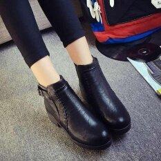 ผู้หญิงกลางบล็อก Heeled ข้อเท้าซิปรองเท้าหนังหนังเทียมแบบสบายๆสไตล์ตะวันตกรองเท้า D218 ดำ นานาชาติ ถูก