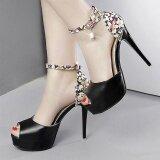 ขาย รองเท้าสตรี Peep นิ้วเท้าแพลตฟอร์มรองเท้าส้นสูงหรูหรากับดอกไม้สีดำ Small Wow เป็นต้นฉบับ