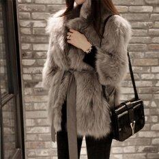 โปรโมชั่น ผู้หญิง Slim Faux Fur Outwear แจ็คเก็ต Overcoat Winter Parka ถูก