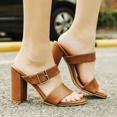 ทบทวน ส้นรองเท้าสตรีส้นสูงญี่ปุ่นรองเท้าส้นสูงพร้อมหัวเข็มขัดสีน้ำตาล Small Wow