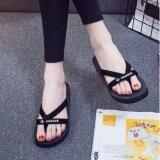ทบทวน Women S Toe Slippers รองเท้าแตะสวม แบบรัดส้นมีหู ความสูง 3Cm รุ่น A206 สีดำ