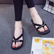 โปรโมชั่น Women S Toe Slippers รองเท้าแตะสวม แบบรัดส้นมีหู ความสูง 3Cm รุ่น A206 สีดำ ใน กรุงเทพมหานคร