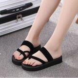 ซื้อ Women S Toe Slippers รองเท้าแตะสวม แบบรัดส้นมีหู ความสูง 3Cm รุ่น A502 สีดำ ออนไลน์ ถูก