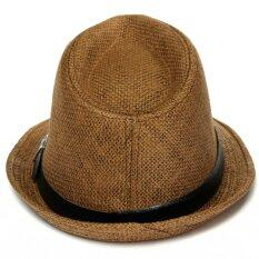 ราคา Women Men Straw Trilby Cap Fedora Beach Sunhat With Belt Brown ใหม่ล่าสุด