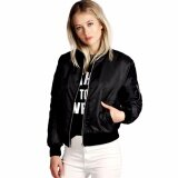 ราคา ราคาถูกที่สุด Womens Classic Bomber Jacket Ladies Vintage Zip Up Biker Coat Black