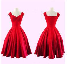 ขาย ซื้อ Womens Cocktail Dresses Summer Dress Vestidos Hort Dress ชุดเดรสชุด สีแดง Red ฮ่องกง