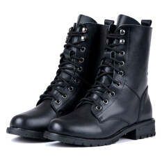 ขาย Women S Cool Black Punk Military Army Knight Lace Up Short Boots Shoes Multicolor ราคาถูกที่สุด