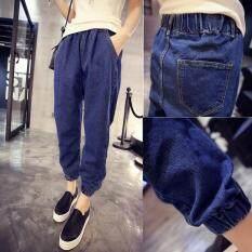 ราคา Women S Cotton Denim Elastic Waist Jeans G*rl S Harem Pant Ankle Length Loose Trouser ใหม่ล่าสุด