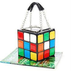 ขาย ซื้อ กระเป๋าแฟชั่นน่ารักสตรี Rubik ตายกระเป๋าถือลำลอง Stachelnคลัตช์ลูกบาศก์ ใน จีน