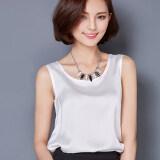 ราคา ราคาถูกที่สุด Women S Fashion Silk Imitation Vest Shirt White