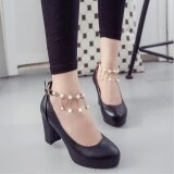 ซื้อ Women S High Heels Chunky Straps 3 Color Leather Bow Princess Platform New Shoes D145 Black Intl ใหม่ล่าสุด