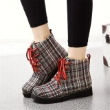 ทบทวน Women S Martin Boots High Upper Lattice Stripes Casual Shoes Comfortable Ladies Ankle Boots Size 35 40 Intl