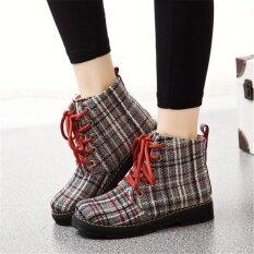 ราคา Women S Martin Boots High Upper Lattice Stripes Casual Shoes Comfortable Ladies Ankle Boots Size 35 40 Intl ที่สุด