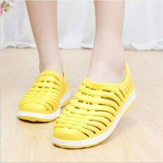 ราคา Women S Men S Water Sandals Hole Breathable Nest Hollow Slipper Pvc Garden Shoes D160 Yellow Intl Unbranded Generic