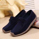 ซื้อ Women S Mocassins Leather Shoes Dark Blue Intl ใหม่ล่าสุด