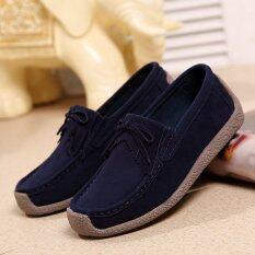 Women S Mocassins Leather Shoes Dark Blue Intl ถูก