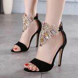 ขาย Womens Open Toe High Heel Suede Elegant Sandals With Crystal Black Intl ออนไลน์