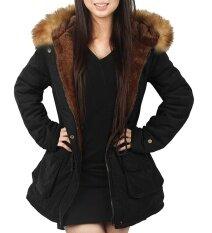 ผู้หญิงเสื้อปาร์เกอะแจ็คเก็ตมีฮู้ดฤดูหนาวเสื้อขนสัตว์กลางแจ้ง (สีดำ) - สนามบินนานาชาติ.
