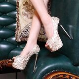 ราคา Women S Peep Toe Platform Bridal Pumps Party High Heels With Sequined Gold ฮ่องกง