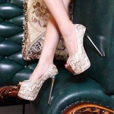 ส่วนลด สินค้า Women S Peep Toe Platform Bridal Pumps Party High Heels With Sequined Gold